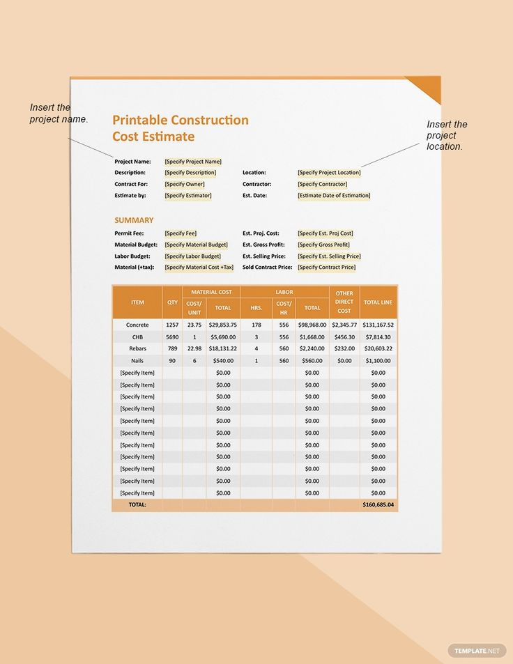 FREE Printable Construction Cost Estimate Word Excel