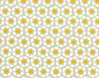Final Sale Hexies in Egg yellow and gray - MOONLIT by Rashida Coleman Hale for Cotton and Steel Fabrics - Half Yard