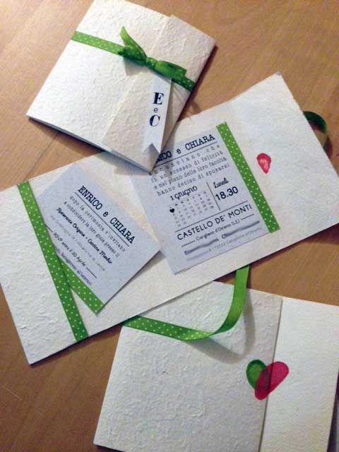 #partecipazioni #matrimonio #wedding #invitation #ribon #pois #green #white