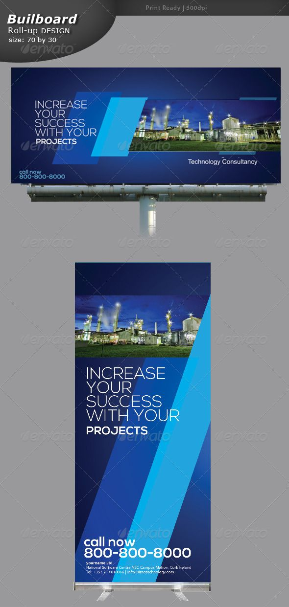 Industrial Billboard and Roll-up Banner #GraphicRiver Industrial Billboard and Roll-up Banner Design fully editable in Photoshop cs5. Source: PSD Size: 30 by 70 inc Bleed: 1 inc Images not included Dpi: 150 Special fonts Nexa fontfabric /nexa-free-font/ Created: 13August13 GraphicsFilesIncluded: PhotoshopPSD Layered: Yes MinimumAdobeCSVersion: CS5 PrintDimensions: 30x70 Tags: industrialbillboard #industrialsign