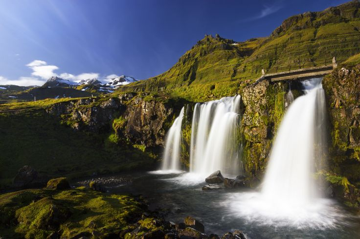 waterfalls and mountains - Kirkjufoss  waterfall