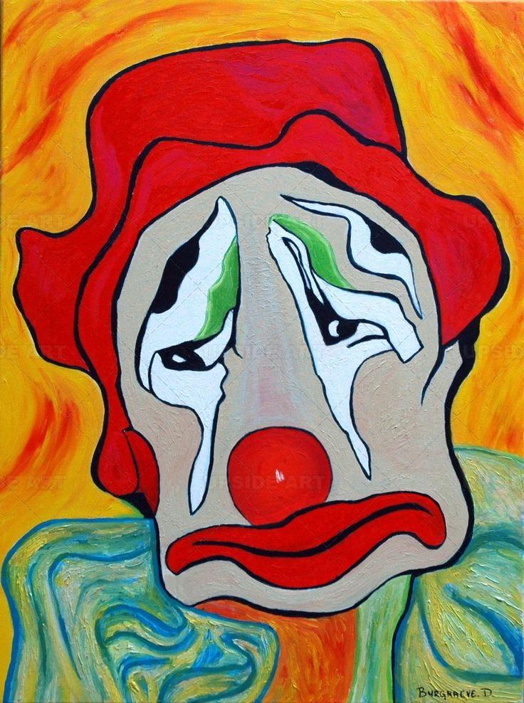 peinture clown motions pinterest uvres d 39 art et. Black Bedroom Furniture Sets. Home Design Ideas