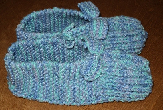 Hand Knitted Slippers with Bows  Ocean Blue by CountryCrafts4You, $12.50