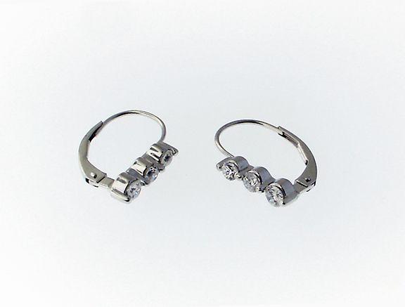 14k white gold lever-back earrings with diamond $300.00