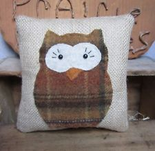 Primitive Halloween Owl Burlap Pillow Bowl Fillers Ornies