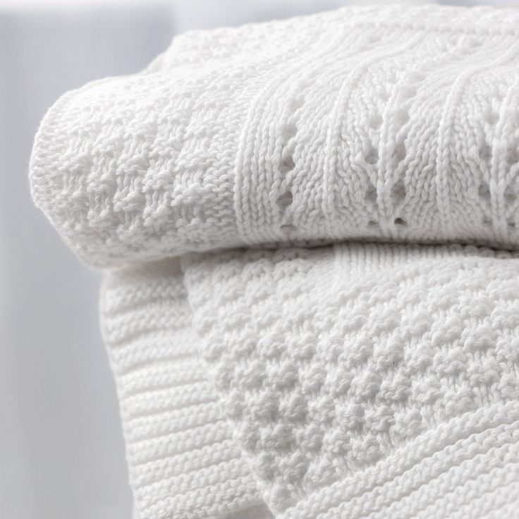 Knitted Patchwork Baby Blanket | The White Company