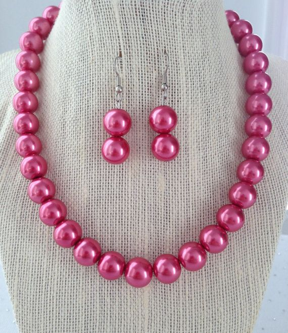 Chunky Pink Pearl Necklace Dark Pink by CherishedJewelryCo on Etsy, $26.00