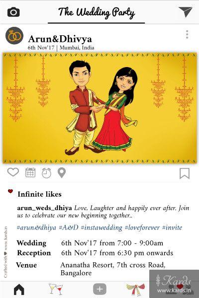 Instagram Love Indian Wedding Invitation Card Indian Wedding Invitation Cards Indian Wedding Invitations Cartoon Wedding Invitations