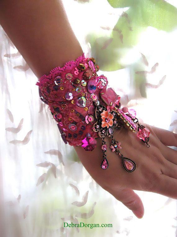 SALE - 50 OFF - Bougainvillea Bracelet, Hot Pinks, Candy, Crystal, Sparkle, Boho Bracelet, Gypsy, Vintage Silk
