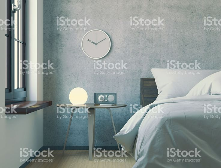 Three-dimensional render of modern minimalist bedroom in the morning. royalty-free stock photo