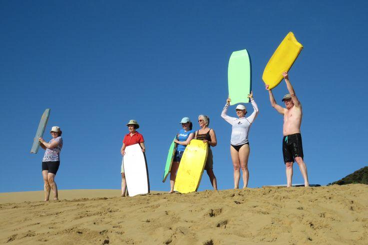 Sandboarding at Te Pouahi Reserve.