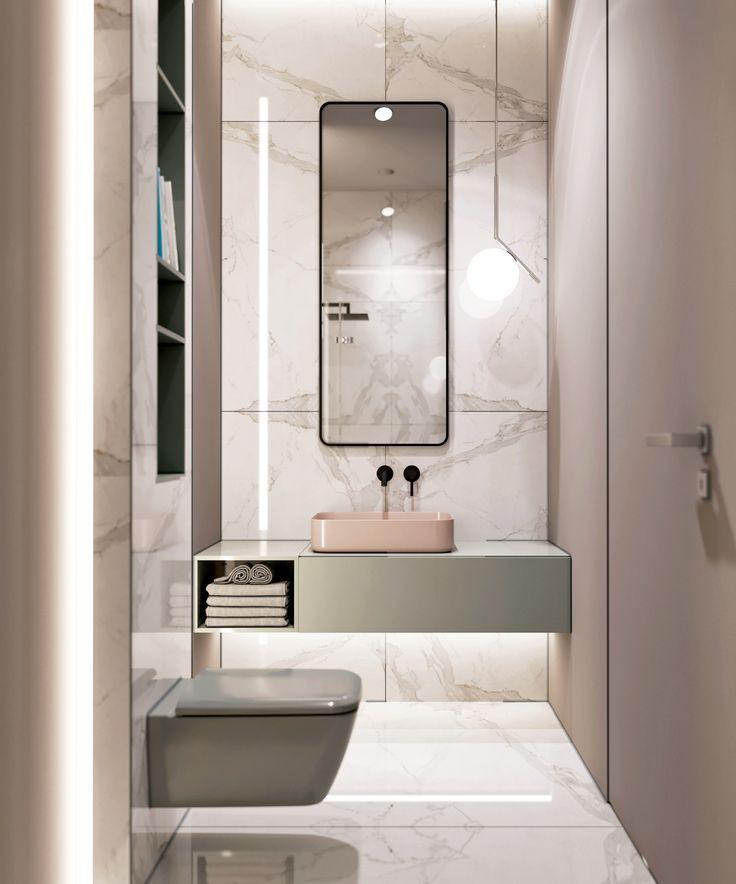 Bad mit weißem Marmor, Wandfarbe Blush, Calacatta…