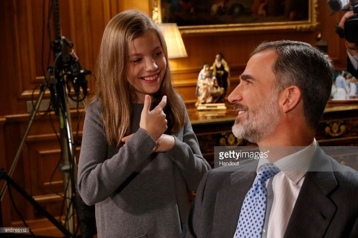 In this handout picture provided by the Spanish Royal House, Princess Sofia and King Felipe of Spain are seen during the Christmas recording message on December 24, 2017 in Madrid, Spain.