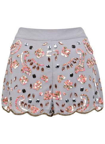 Grey Fleuro Embellished Shorts