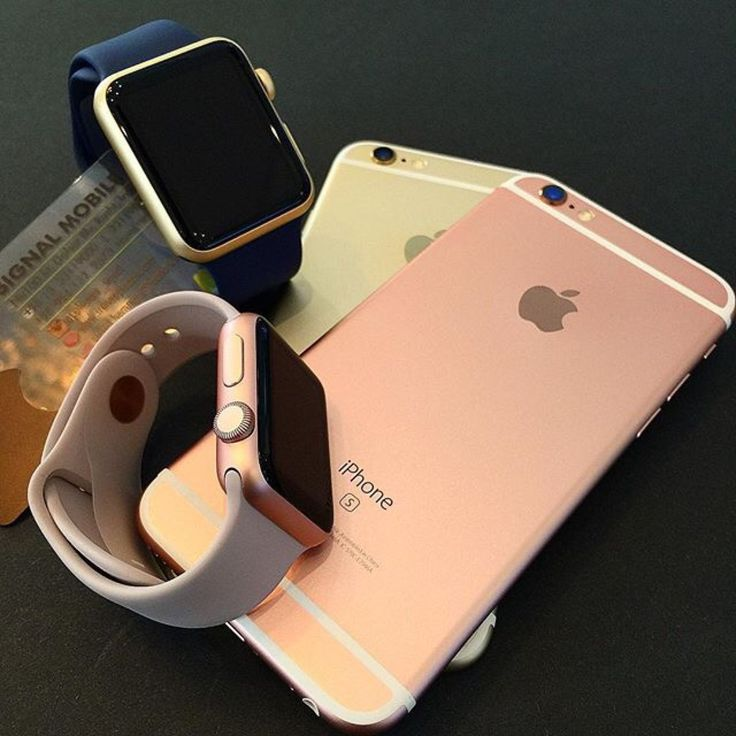 My moms phone and Apple Watch (rose gold) and my dads phone and Apple Watch(gold) -Paige