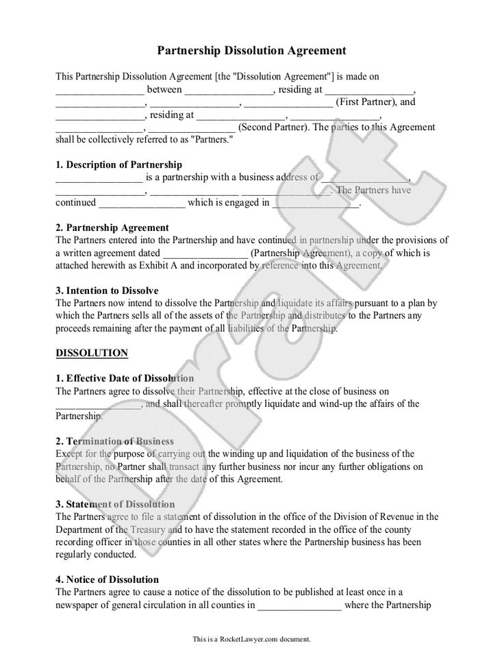 partnership dissolution agreement  form with sample