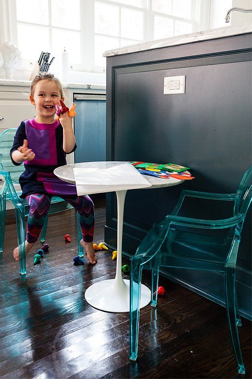 Lauren Weisbarth wanted her daughter Marli to have a spot where she could make a mess and enjoy herself. A mini-marble table that matches the countertops does the trick.
