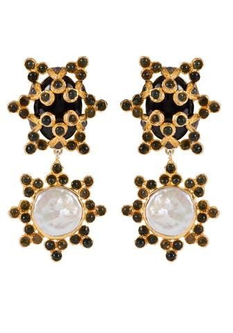 Bettina Earrings Black, Grey & Pearl