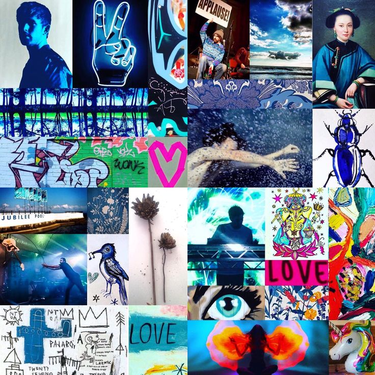 Blue photomontage mashup by Lizzie Reakes