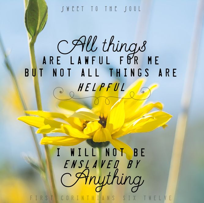 1 Corinthians 6:12  (We are not to be mastered by anything, even if it is within our own rights)