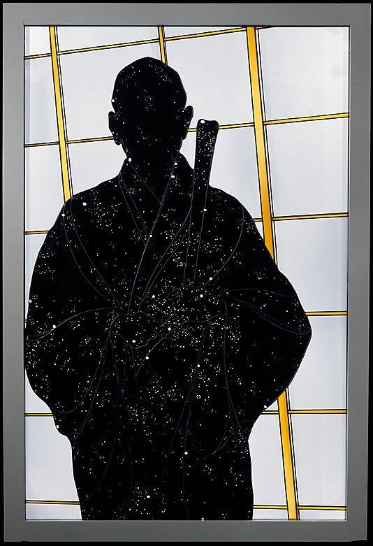"""Stained glass """"Portrait of Shunryu Suzuki Roshi"""" by  Narcissus Quagliata, 1980"""