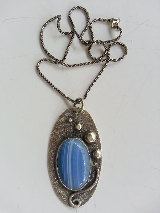 Blue Agate stone 925 sterling silver necklace is made by Berrin Duma.