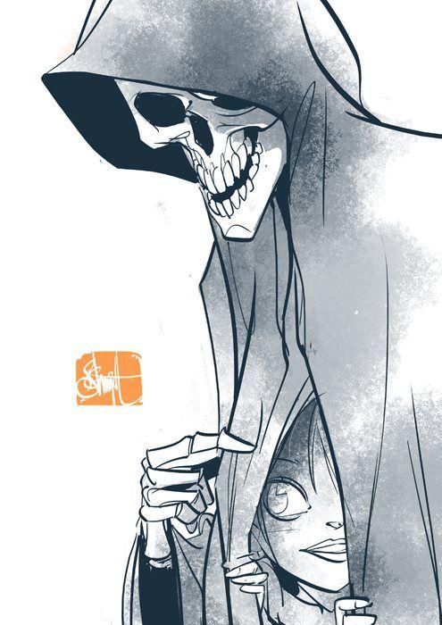 Otto Schmidt.  Death grim reaper Father Time scythe maiden girl woman dance danse macabre skull skeleton