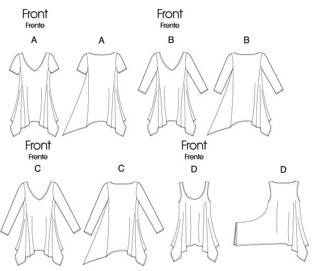 way to alter t-shirts, tanks tops or sewing patterns to make sharktooth hemlines and drape.