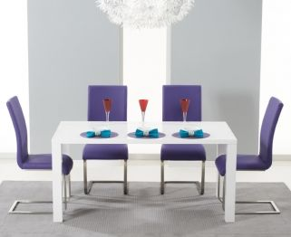 Hereford White High Gloss Dining Set - with 4 Purple Malibu Chairs