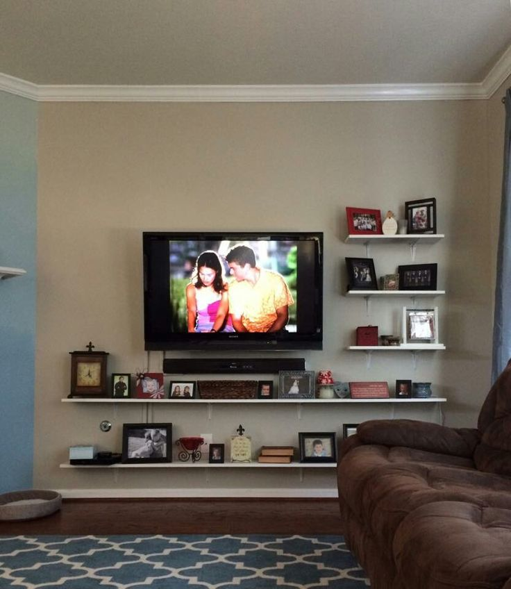 mounte tv with shelf under - Google Search | tv mounted in bedroom ...