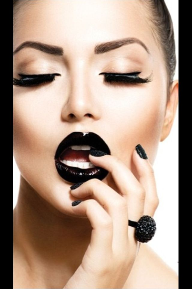 Dark Lipstick Wedding Makeup : Black lipstick Makeup Pinterest Nail black ...