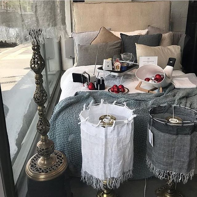 what a luxurious christmas window linen baubles and breakfast flaunting our bed head sheets blankets and light shades in style