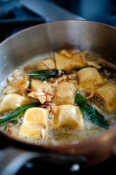 Butternut Squash Agnolotti with Brown Butter, Sage, Pecorino, Prosciutto, and Toasted Hazelnut