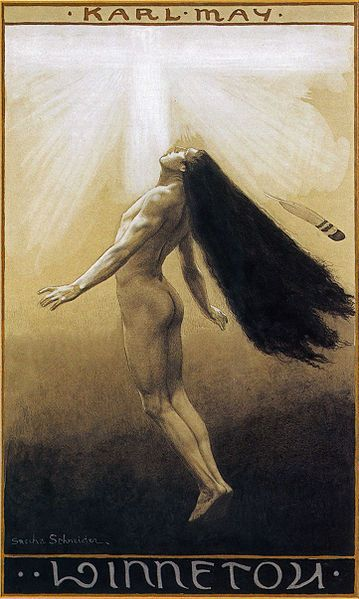 Sascha Schneider, Winnetous Himmelfahrt, 1904 Book cover of Winnetou III by Karl May: