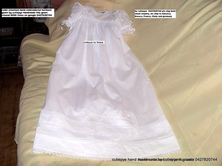 cutiepye smocked heirloom 1920 hand embroidered lined and comes with hat and bib $150 ring 0427820744