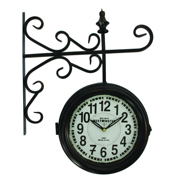 double sided iron wall clock with black iron frame overstock shopping great deals on