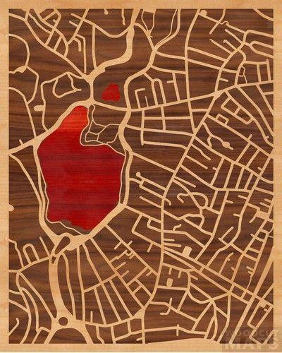 16x20 Woodcut Map of Boston, Massachusetts - I left my heart in Boston (Jamaica Pond)Crafts Ideas, Guilty Pleasure, Maps, Boston Massachusetts, 16X20 Woodcut, Jamaica Ponds, Image Art, Chile Lindos, Boston Jamaica