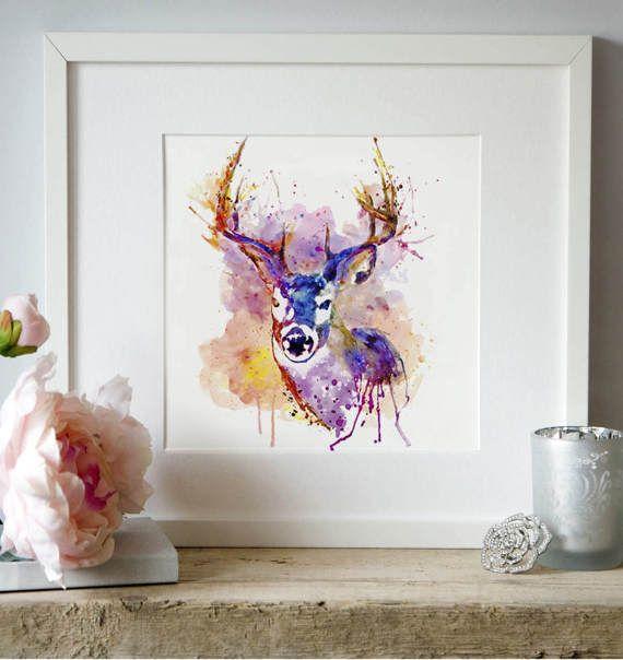 Buck Watercolor painting Deer poster Wall art Wildlife Animal