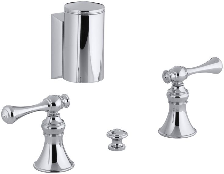 Revival Below-The-Rim Horizontal Swivel Spray Bidet Faucet with Traditional Lever Handles