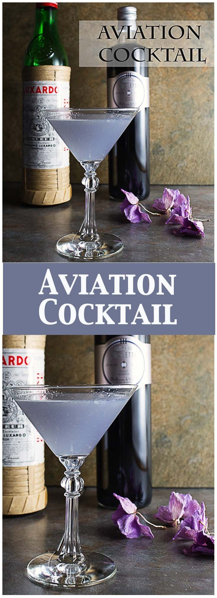 The Aviation Cocktail is a gorgeous lavender cocktail made with #gin #cremedeviolette #drinks #cocktails #gincocktails #maraschinoliqueur