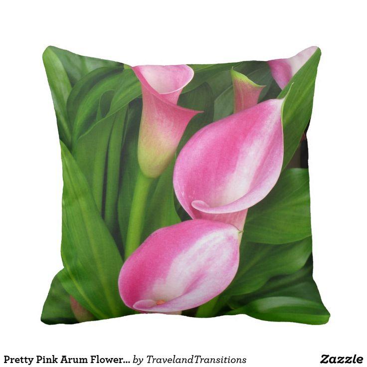 Pretty Pink Arum Flowers on Green Background