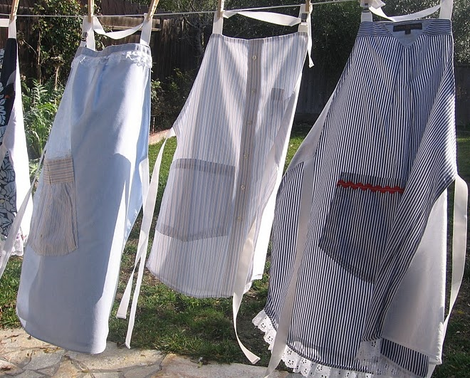 recycled men's shirts = aprons
