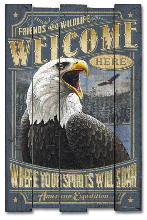 Bald Eagle Wooden Cabin Sign