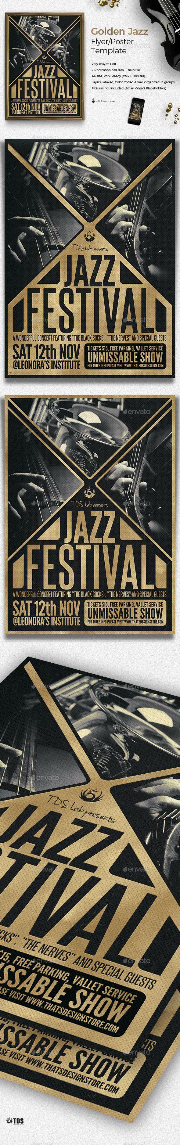 Golden Jazz Flyer Template PSD