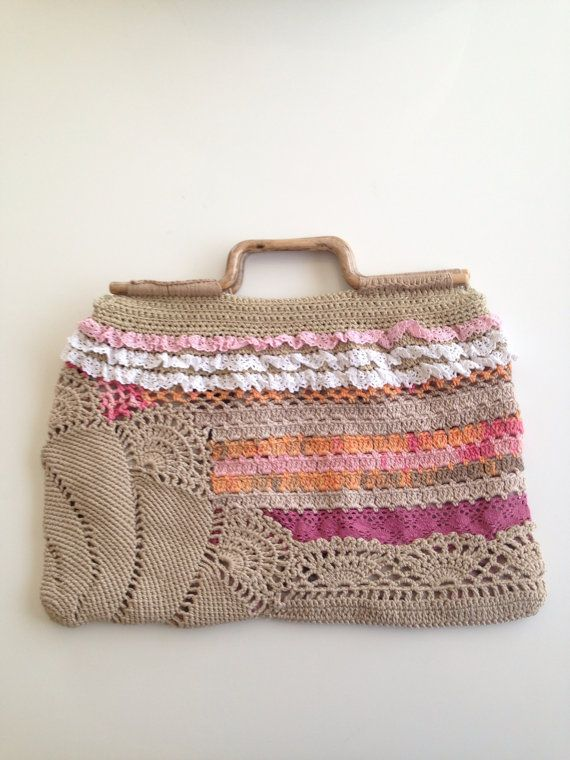 Crochet Unique Pink Orange Cream Bag with by QueensAccessories, $90.00