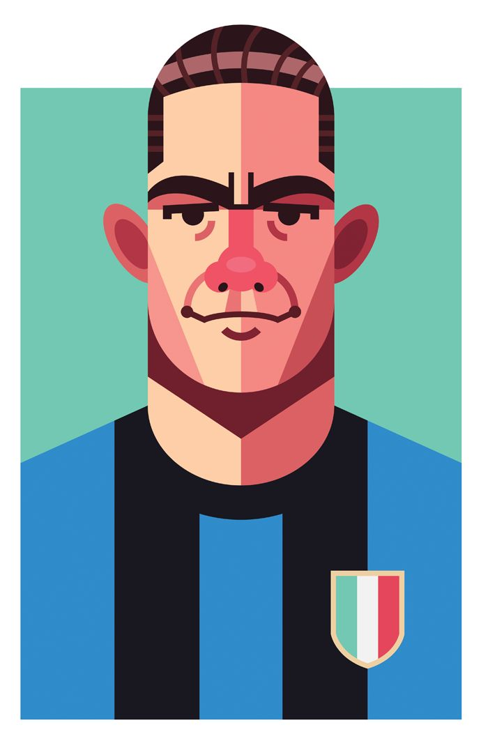 Luis Suarez Miramontes, Inter Milan | Football Players Vector Illustrations by Daniel Nyari.