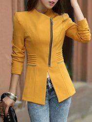 Elegante con cuello en V manga larga chaqueta de color sólido cremallera de las mujeres que adelgaza