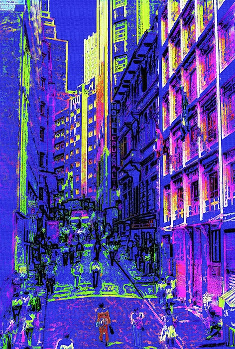 On the streets of downtown Sao Paulo in the early 80's. In the original photograph, in this busy business district, people intermingled, probably around lunchtime, going about their day.Via Photoshop this daytime scene has become night, with a neon-like glow and a chalky poster art feel. An interesting urban digital artwork.
