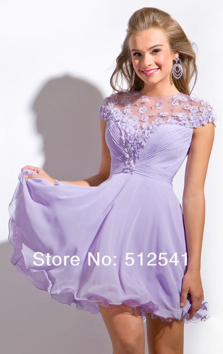 Short sleeves Cheap Purple Homecoming Dresses Sheer Mini A Line Crew neck flower custom made dress yk-G501S