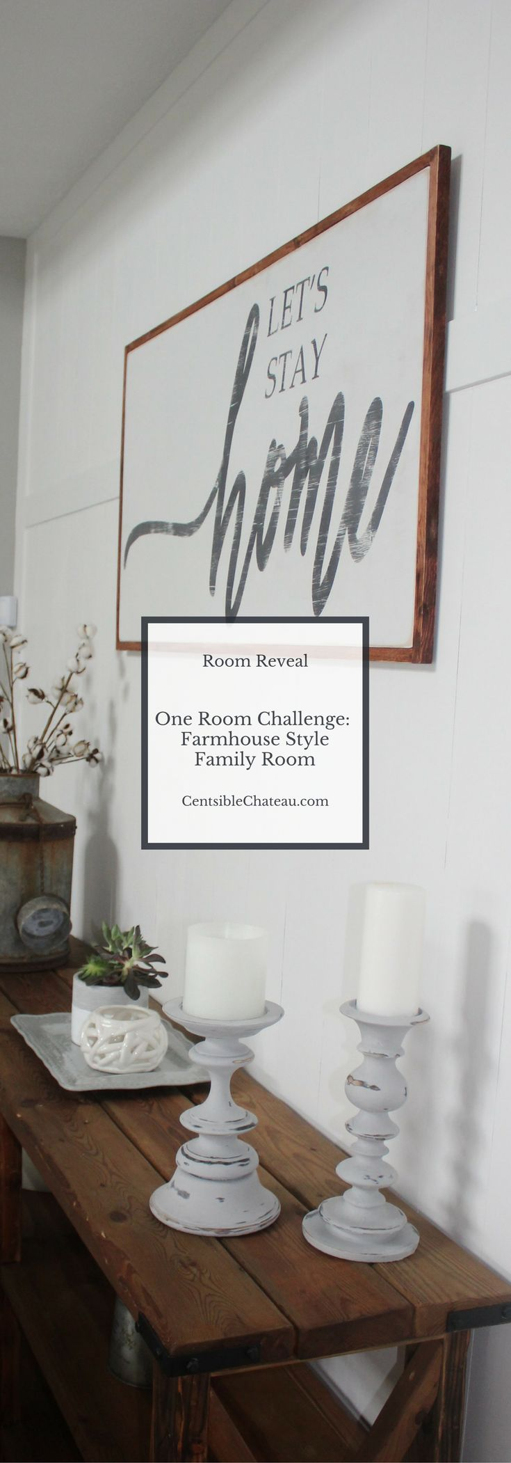 Our farmhouse style family room makeover is part of the @oneroomchallenge by @callingithome and @housebeautiful. See how we redecorated the room on a budget and used fixer upper ideas to get the perfect room